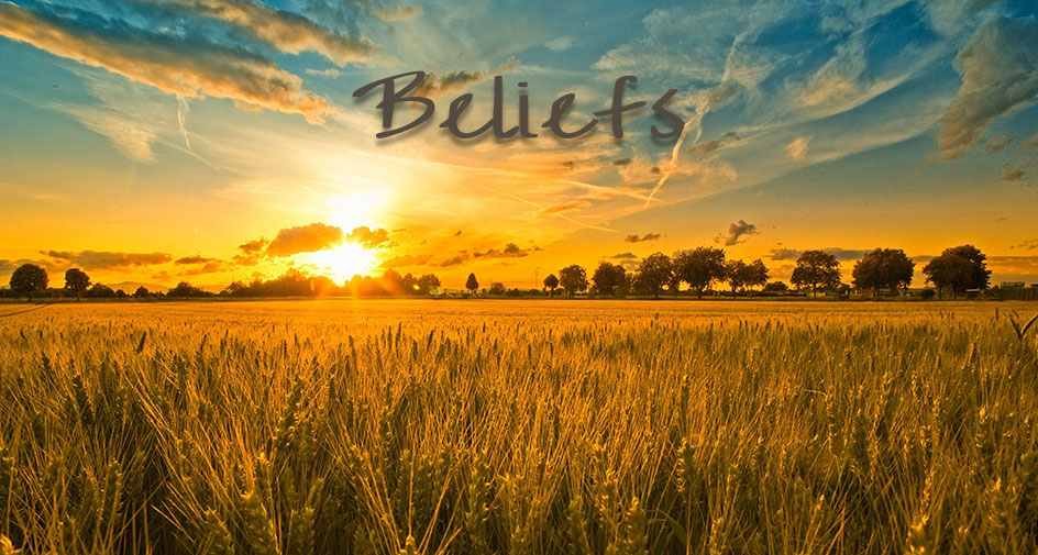 Sunrise over a wheat field with the word 'Beliefs' at the top.