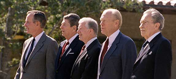 Past Presidents George Bush, Ronald Reagan, Jimmy Carter, Gerald Ford, and Richard Nixon. Rich Christian heritage.