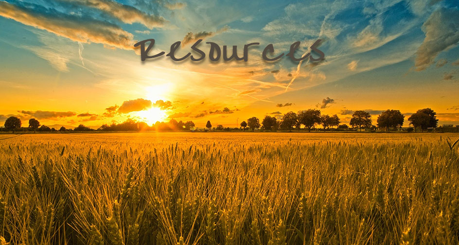 Sunrise over a wheat field with the word 'Resources' at the top.