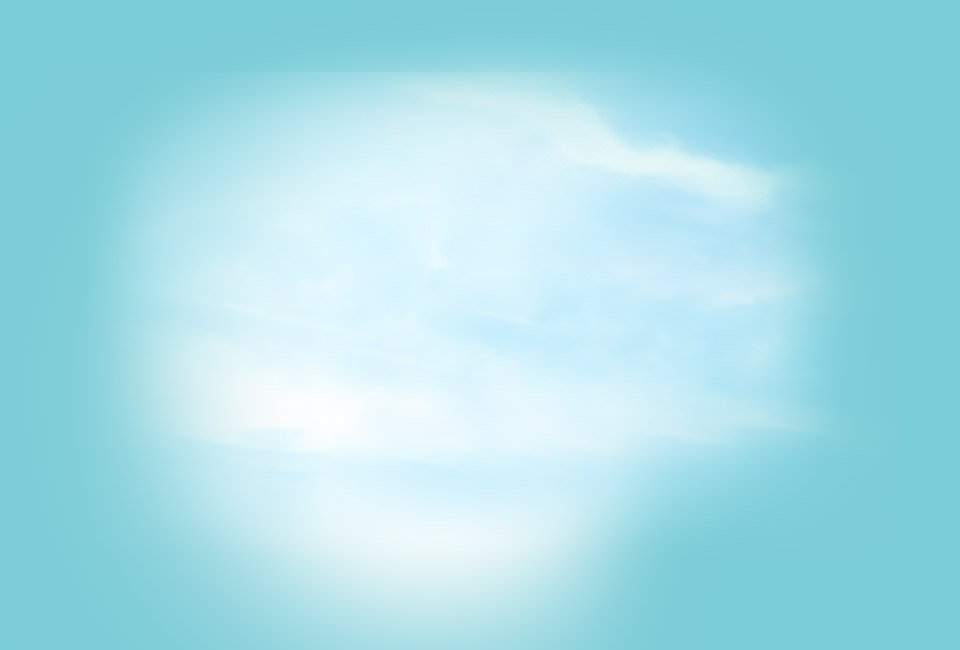 A blue background with fluffy clouds.
